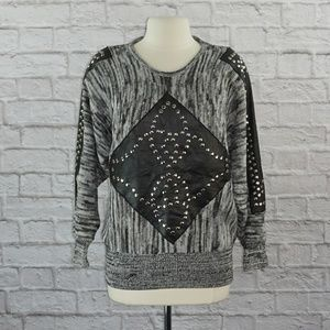 Vintage 80s Vegan Leather Knit Studded Sweater